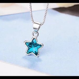 Star Pendant Necklace 925 Sterling Silver Cubic Zc